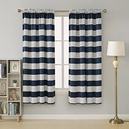 Amazoncom Deconovo Navy Blue Striped Blackout Curtains Rod Pocket