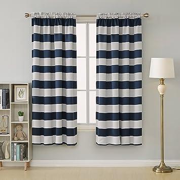 Amazoncom Deconovo Navy Blue Striped Blackout Curtains Rod Pocket