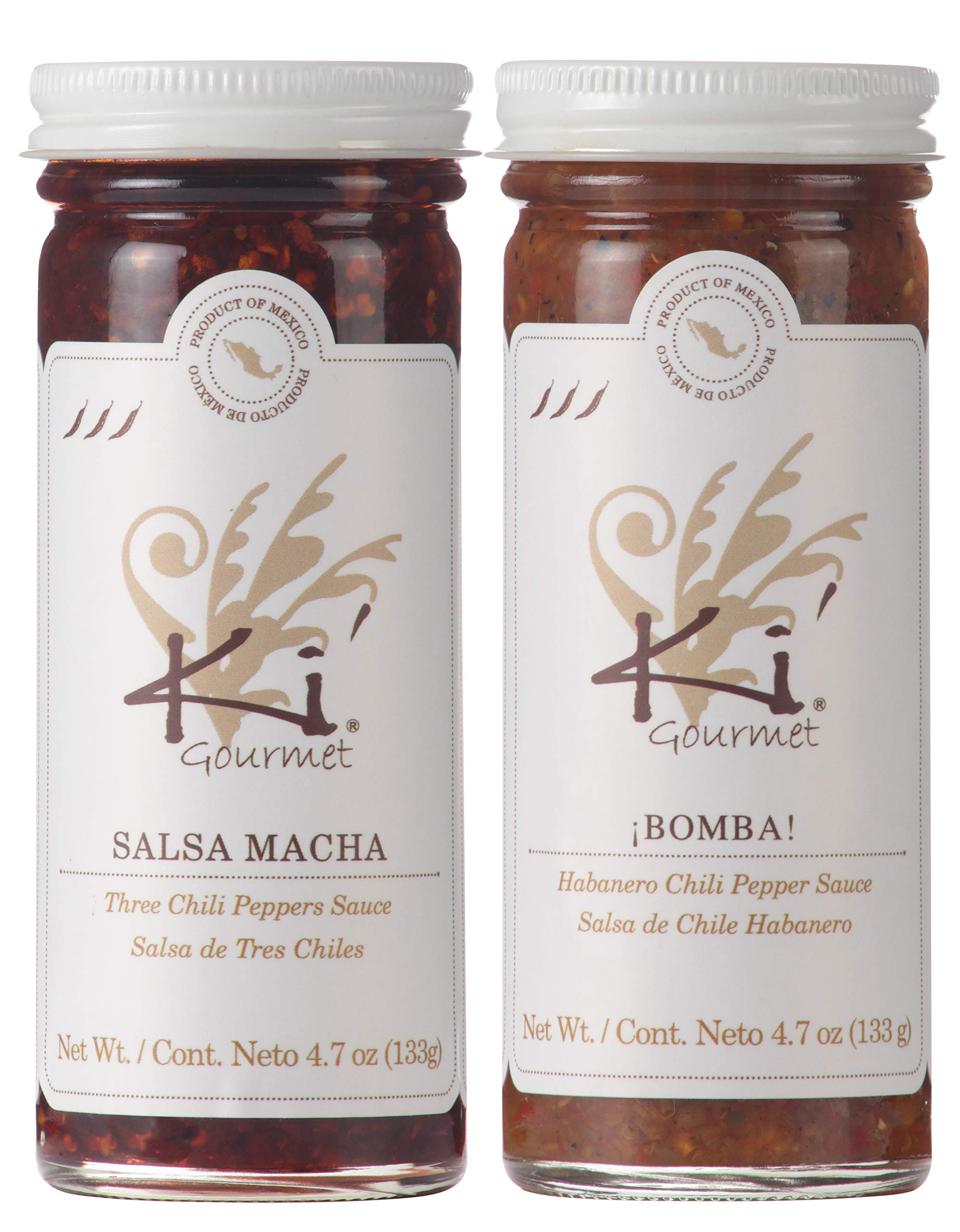 KI GOURMET MEXICAN SAUCES: MACHA SAUCE AND HABANERO SAUCES (4.7 oz. per sauce