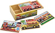 Melissa & Doug Vehicles Jigsaw Puzzles in a Box (Four Wooden Puzzles, Sturdy Wooden Storage Box, 12-Piece Puzzles, Great Gif