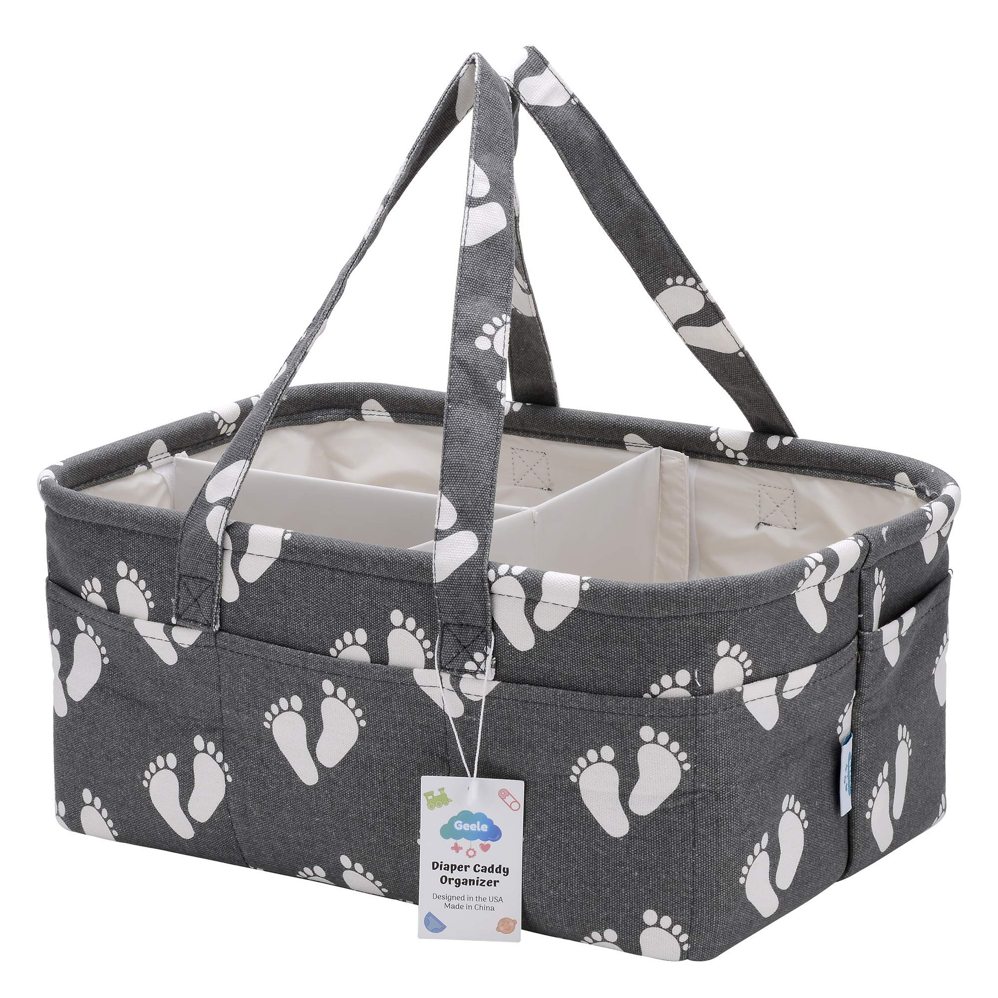 Geele Large Baby Diaper Caddy Organizer Bag, Portable Nursery Storage Bin for Changing Table, Car Travel Tote for Newborn & Infant, Foldable Compact Baby Basket, Strong Durable Cotton Canvas by Geele