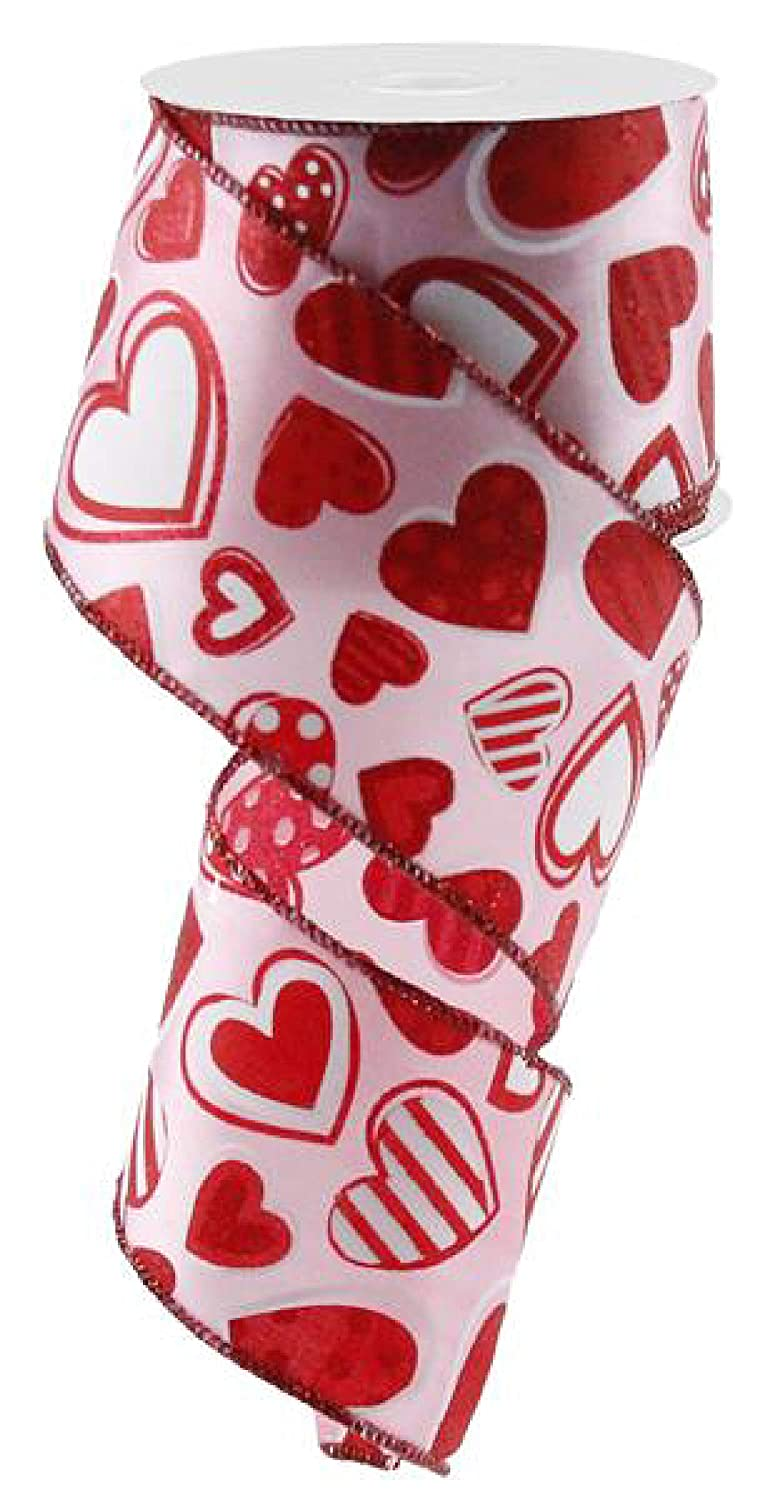 Red, White 2.5 x 10 Yards Patterned Hearts Wired Edge Ribbon