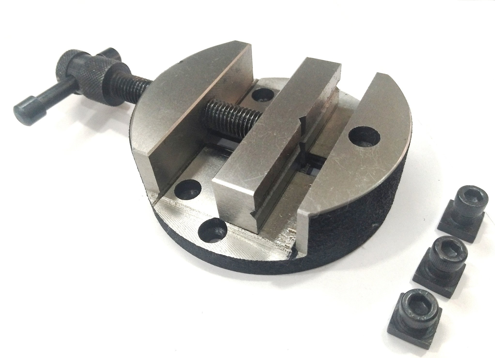 ASSORTS's Quality 80 mm Round Vice for 3'' (80 mm) & 4'' (100 mm) Rotary Milling Indexing Table with 3 x M6 T nuts Bolts-Engineering Tools
