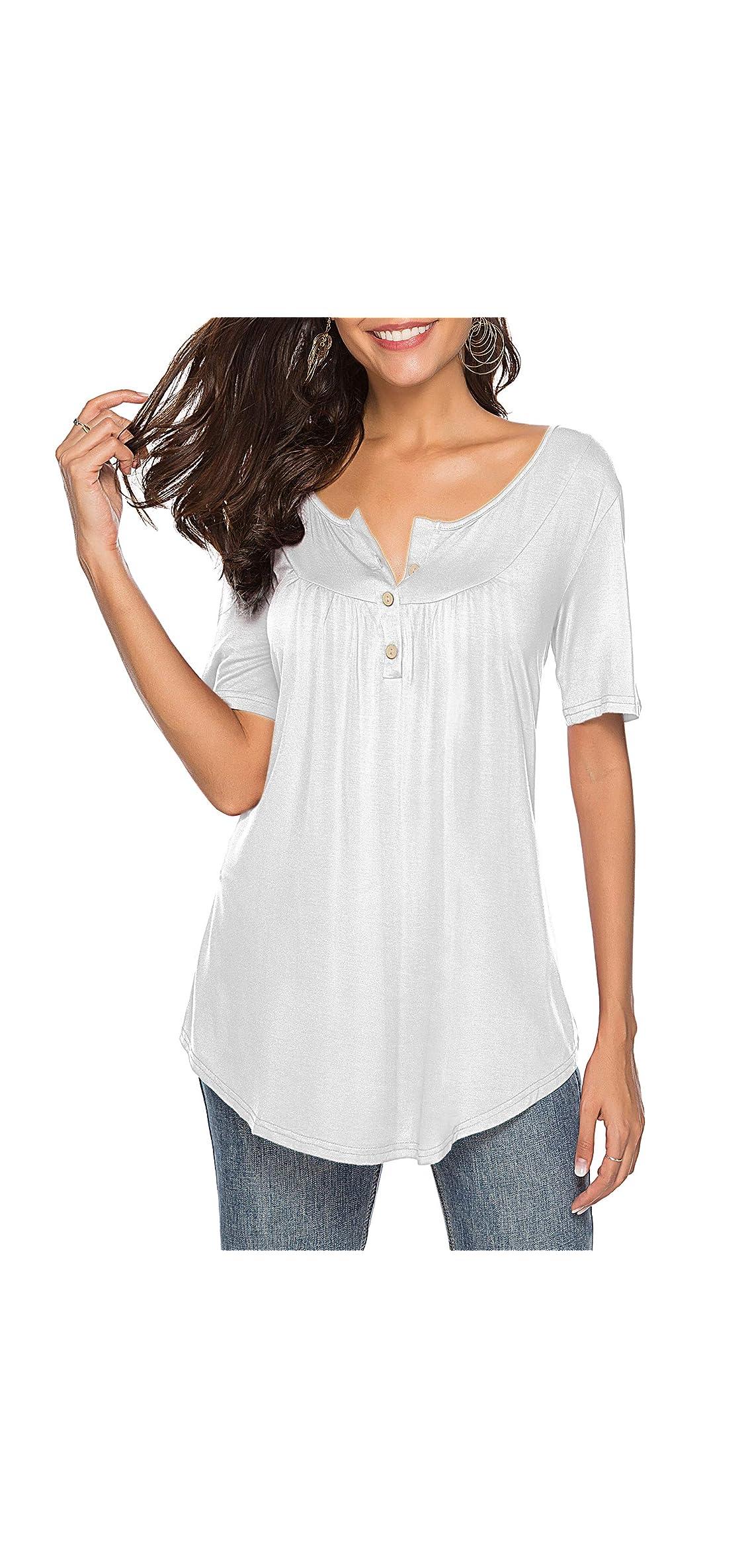 Womens Shirts Casual Tee Shirts V Neck Short Up