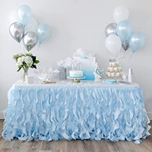 Bluekate Blue Tutu Table Skirt 9ft with Double Layer Organza Willows for Ocean Under the Sea Decorations, 1st Baby Boy Birthday Décor, Elephant Baby Shower Decor, Gender Reveal or Bridal Shower