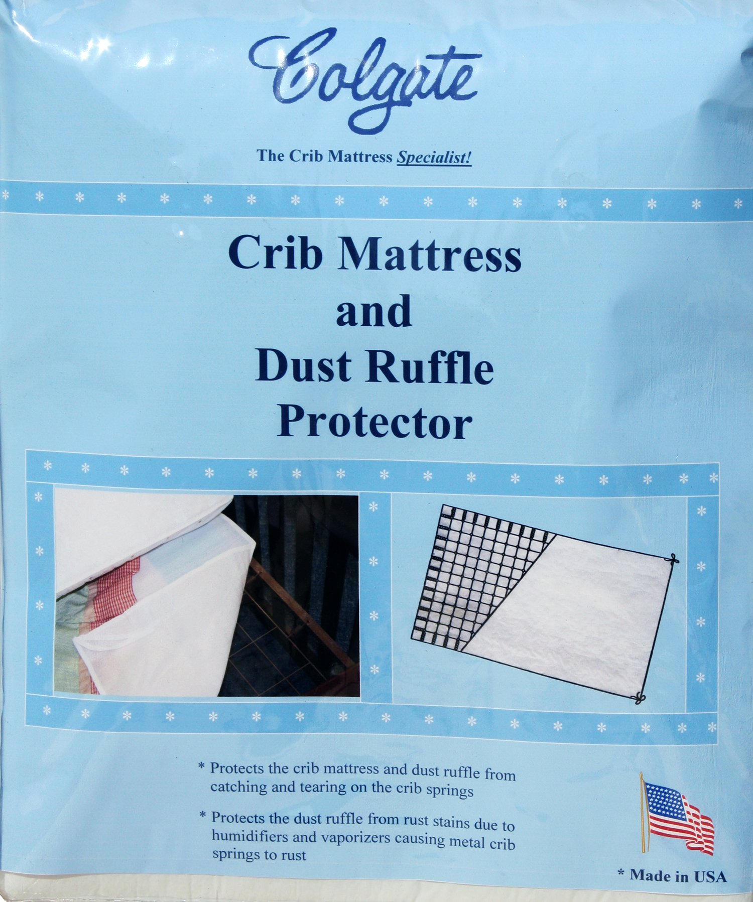 Colgate Crib Mattress and Dust Ruffle Protector |52''L x 28''W x 0.4''H |Waterproof Pad Protects Mattress from Tears and Rust Stains |Made in the USA