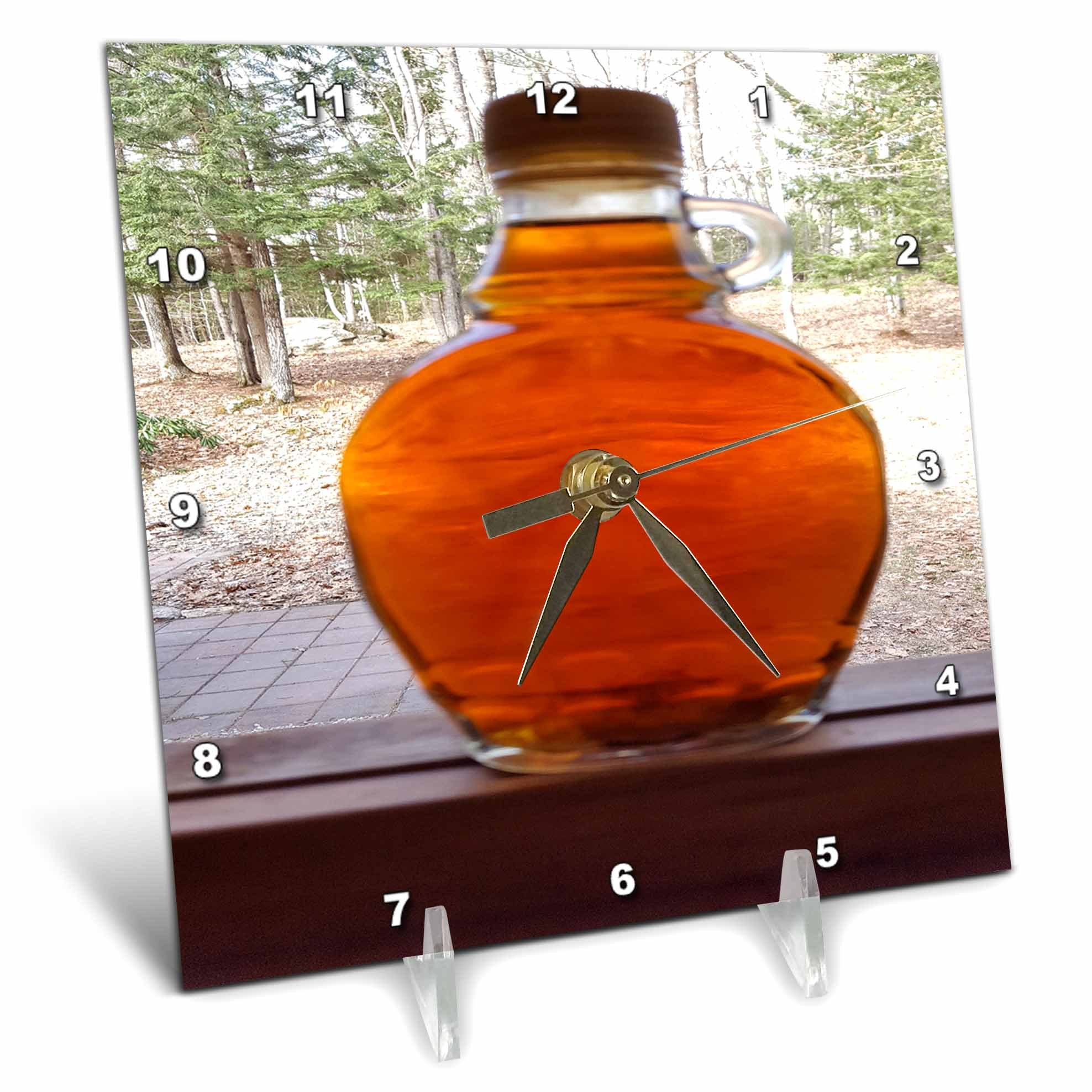 3dRose TDSwhite – Miscellaneous Photography - Maple Syrup Bottle Windowsill - 6x6 Desk Clock (dc_285357_1)