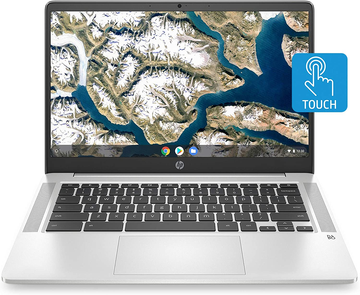 HP Chromebook 14-inch HD Touchscreen Laptop, Intel Celeron N4000, 4 GB RAM, 32 GB eMMC, Chrome (14a-na0030nr, Mineral Silver)