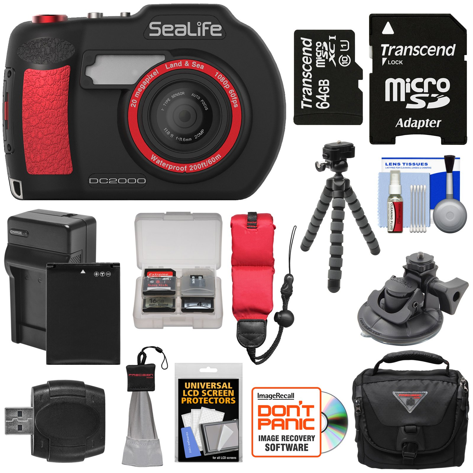 SeaLife DC2000 HD Underwater Digital Camera with 64GB Card + Battery & Charger + Case + Tripod + Suction Mount + Floating Strap + Kit by SeaLife