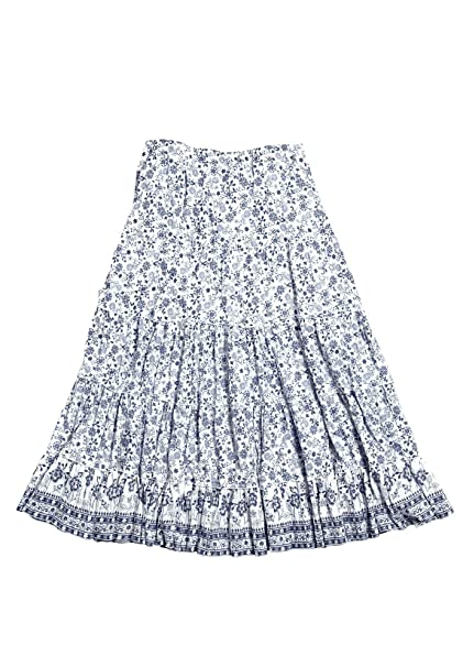 df412b3e83a Ellos Women s Plus Size Printed Long Tiered Skirt at Amazon Women s ...