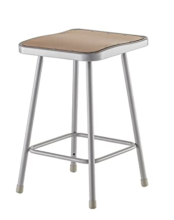 national public seating 6324 grey steel stool with 24 square hardboard seat - National Public Seating