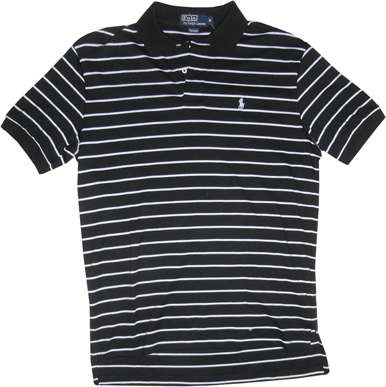 Ralph Lauren Polo Mens Short Sleeve Shirt Black Striped, Medium at ...