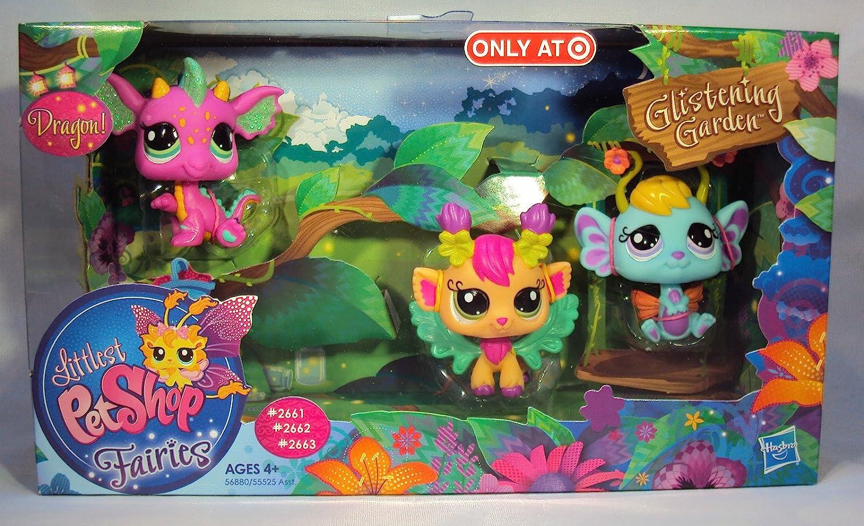 Littlest Pet Shop Fairies Glistening Garden Exclusive 10Pack Pink Dragon,  Daylily Lavender