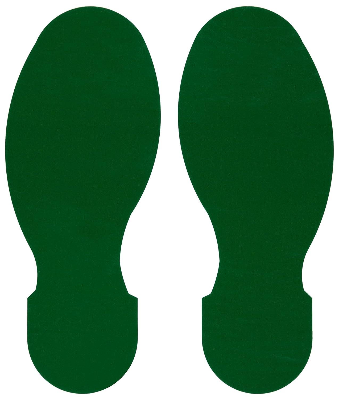 Brady ToughStripe Nonabrasive Footprints Floor Marking Tape, 10' Length, 3-1/2' Width, Green (Pack of 10 Per Roll) 10 Length 3-1/2 Width 104407
