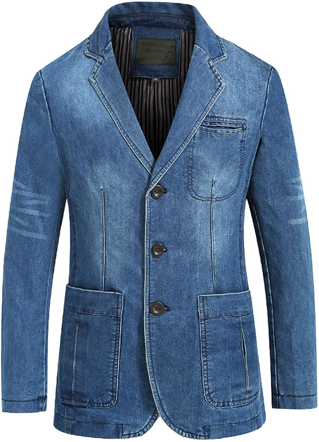 chouyatou Men's Classic Notched Collar 3 Button Tailoring Distressed Denim Blazer Jacket at  Men's Clothing store