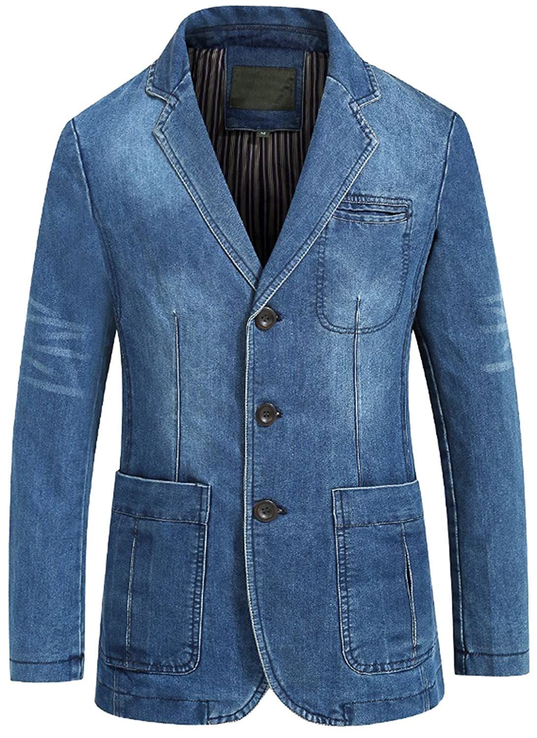 Chouyatou Men's Classic Notched Collar 3 Button Tailoring Distressed Denim Blazer Jacket