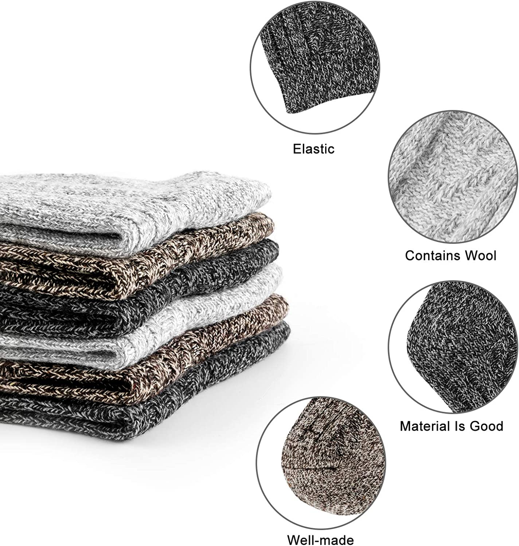 10/% Lana di Pecore e Lana di Conigli Super Calde HBselect 6 paia di Calze Lunghe Unisex con 3 Colori Calze Invernali Materiale Misto