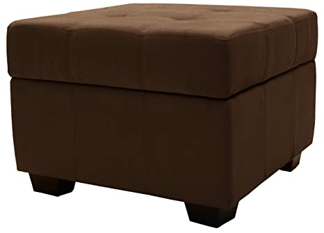 Pleasing Microfiber Suede Upholstered Tufted Padded Hinged Square Storage Ottoman Bench 24 Chocolate Brown Alphanode Cool Chair Designs And Ideas Alphanodeonline