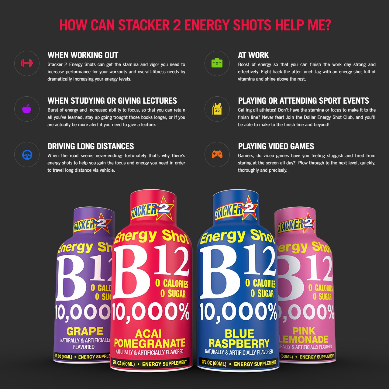 Stacker 2 B12 No Calorie Zero Sugar Energy & Vitamin Shots 2 Fl. Oz. (Pack Of 12) Acai Pomegranate