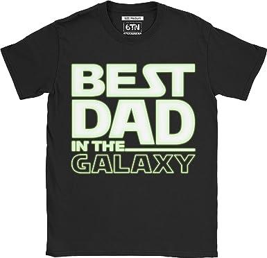 6TN Hombre Brilla en la Oscuridad Best Dad In The Galaxy Camiseta