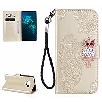 COWX Handyhülle für Samsung Galaxy Note 9 Hülle Leder Flip Case Brieftasche Etui Schutzhülle für Samsung Galaxy Note 9 Tasche Cover Rhinestone Eule (Gold)