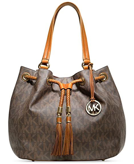 35c23b1300250 Michael Kors Jet Set Grab Bag Large Signature Monogram Drawstring Tassels  PVC Brown Signature Shoulder Tote  Amazon.ca  Shoes   Handbags