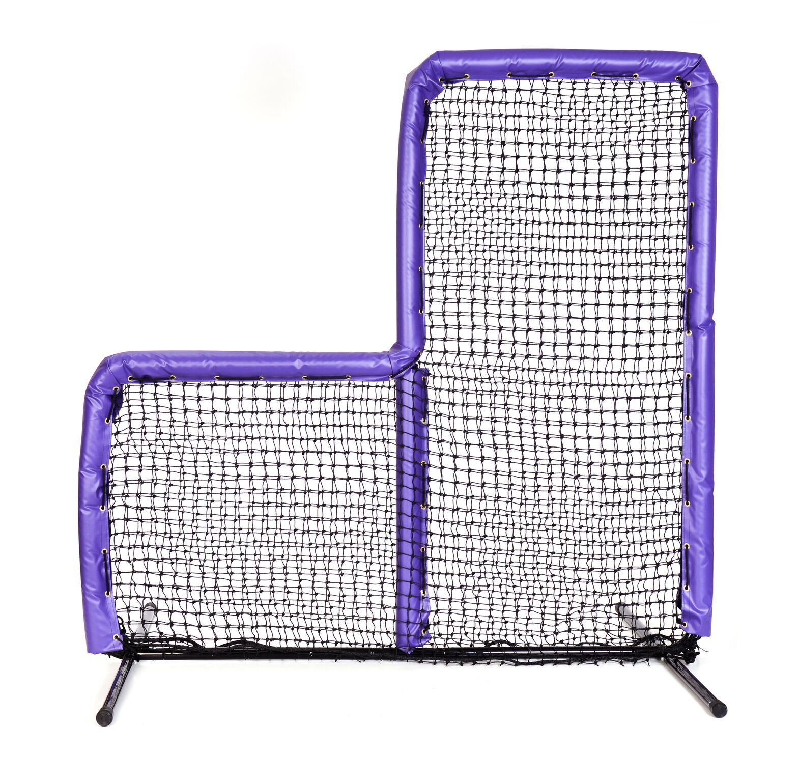 Armor Series Pitching Screen Baseball Softball Practice Net with Screen Bulletz Leg Caps. 7x7 L-Screen Perfect for Baseball and Softball Batting Practice. Choose Padding Color. (Purple) by Armor