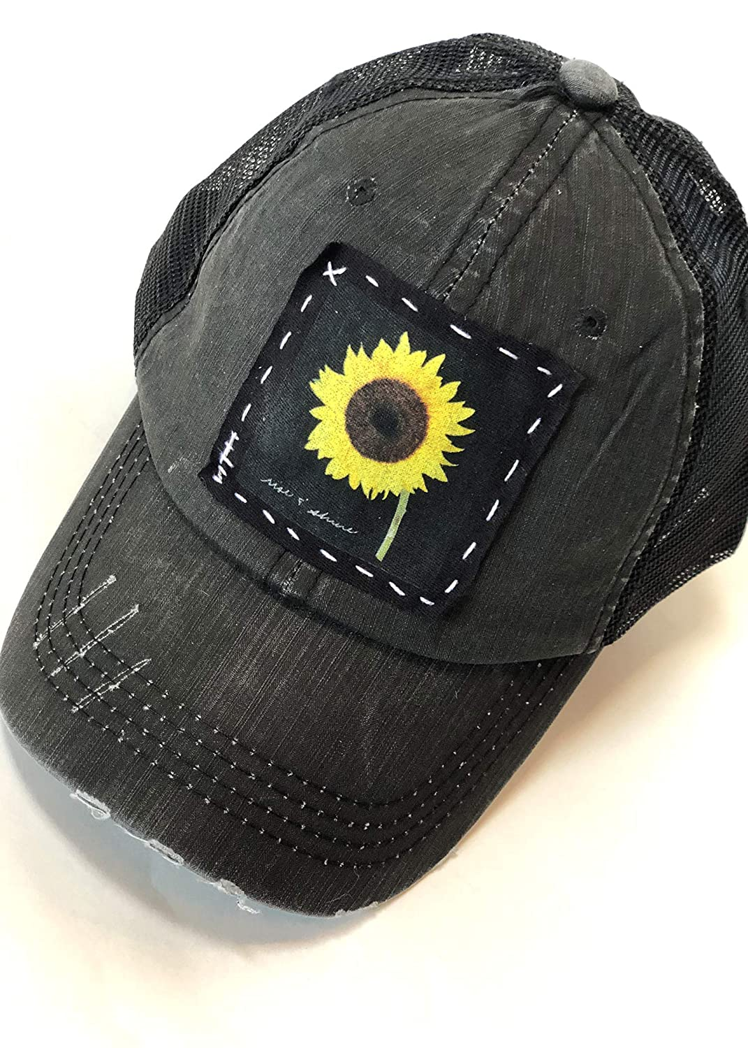 bc1621a1c Distressed Trucker Hat with Rise and Shine Sunflower Design in White ...