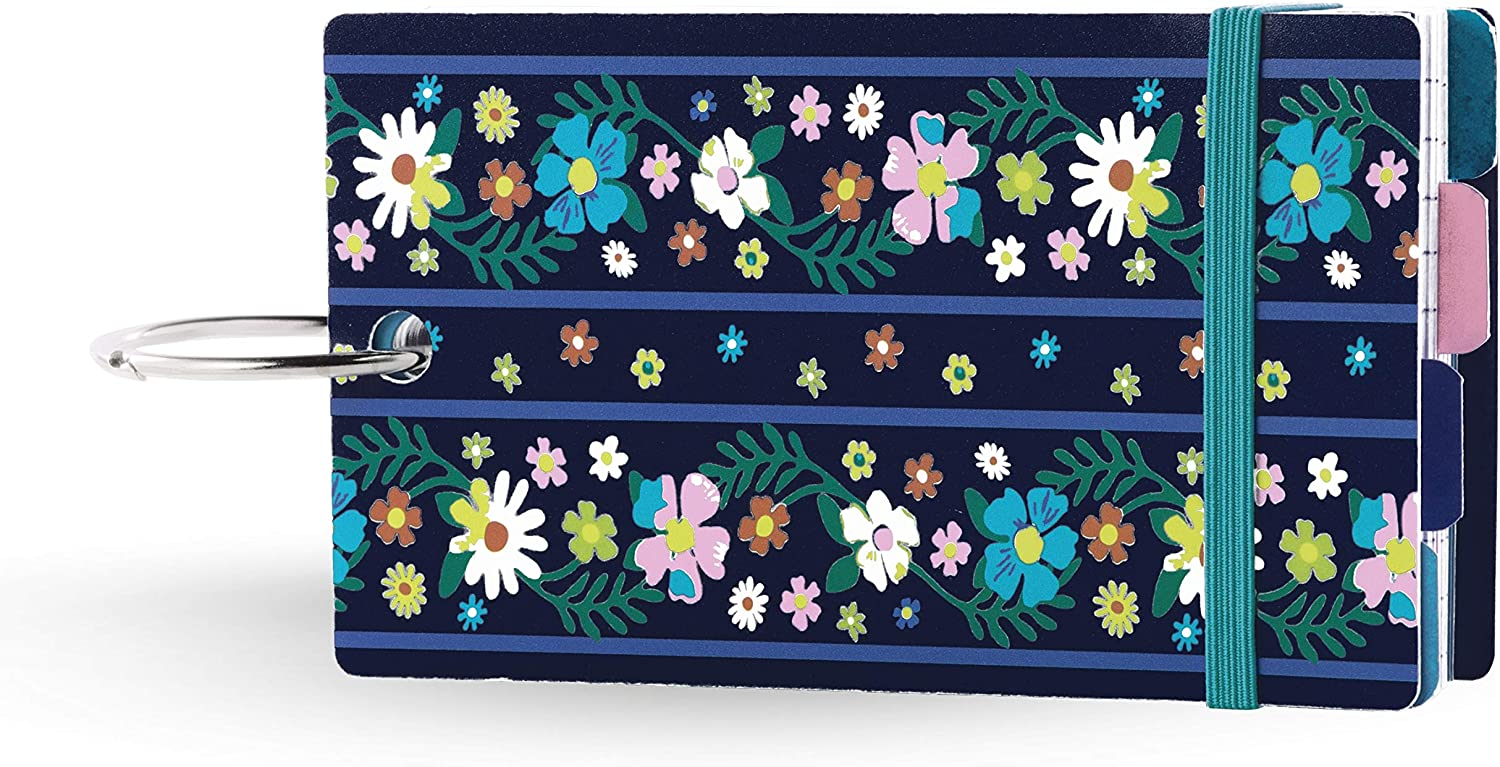 Vera Bradley 100 Count Lined Index Cards with Dividers, Blue Floral Study Buddy with Stickers and Metal Binder Ring, Moonlight Garden
