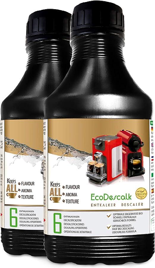 EcoDescalk, 2 x 500 ml. Descalcificador para todas las cafeteras. Todas las marcas, Nespresso, Krups, DeLonghi, Tassimo.... 6 descalcificaciones. Producto CE.: Amazon ...