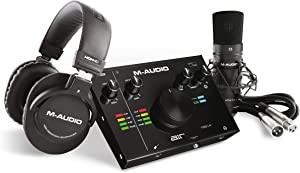 M-Audio - Complete Recording Bundle - USB Audio Interface, Microphone, Shock mount, Cable, Headphones and Software Suite - AIR 192|4 Vocal Studio Pro