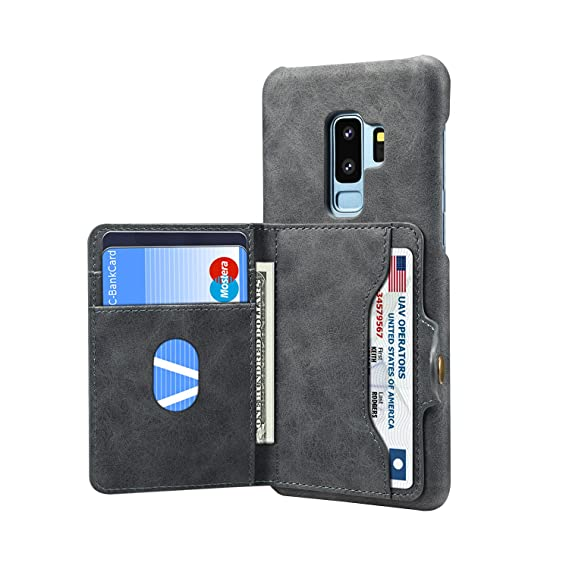 cheap for discount 36d72 204af Galaxy S9 Card Holder Case,Galaxy S9 Card Slot Case,AIFENG Samsung Galaxy  S9 Phone Premium Leather Wallet Case Cover with Card Slot Holder.Dark Gray