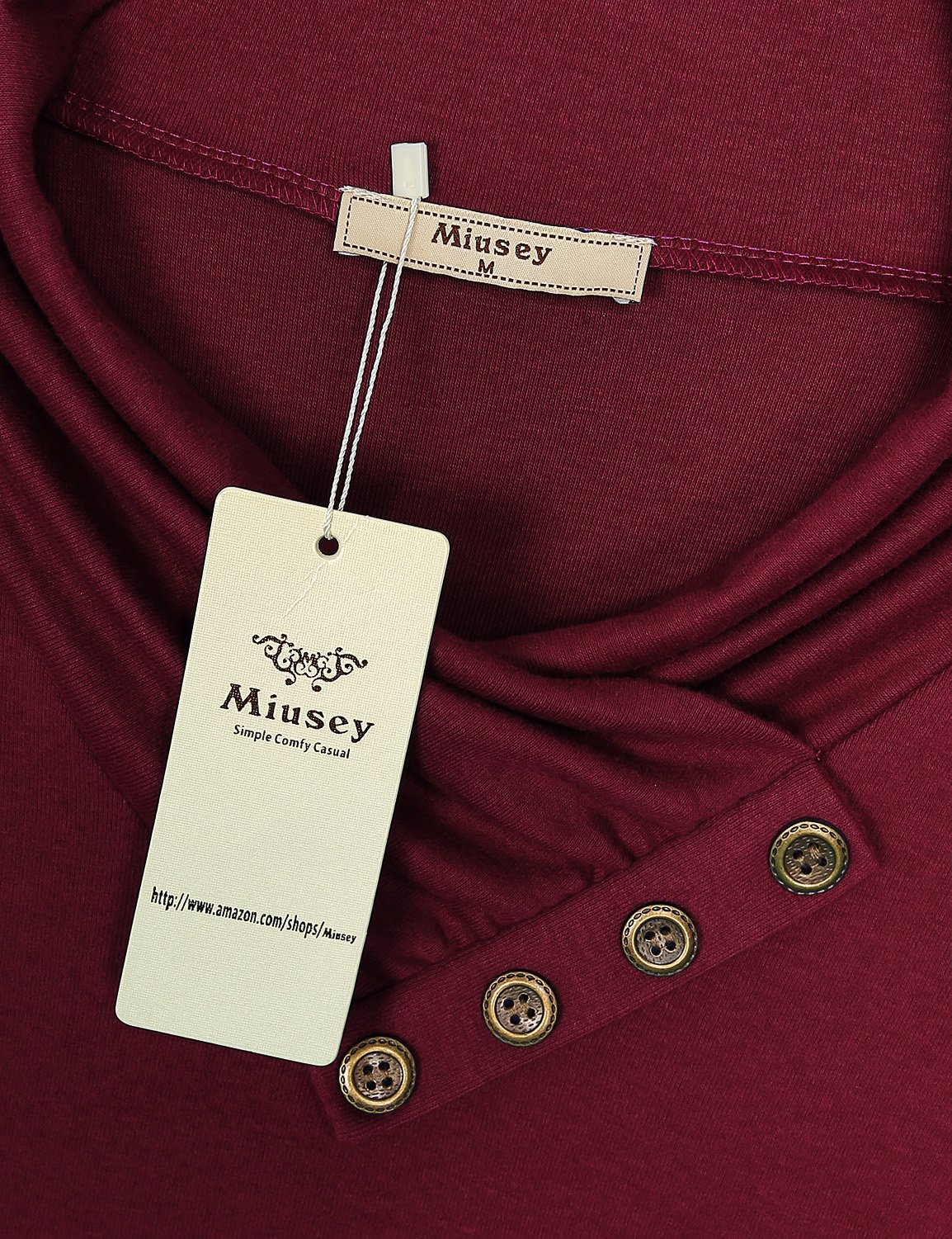 Miusey Womens Tunic Tops Ladies Long Sleeve Easy Fit Outdoor T Shirt Flowing Cowl Neck Button Décor Pullover Knit A Line Elastic Youth Blouses Pregnancy Plus Size Sweaters Wine XXXL by Miusey (Image #3)