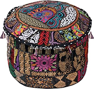 Stylo Culture Traditional Cotton Patchwork Embroidered Ottoman Stool Pouf Cover Black Floral Seat 45 cm Seating Pouffe Case Bean Bag Home Decor