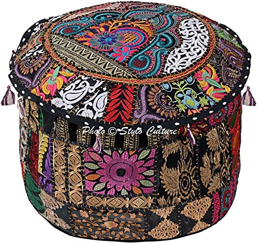 Stylo Culture Cotton Patchwork Embroidered Ottoman Stool Pouf Cover Pouffe Black Floral Indian Living Room Case Traditional Decor Bean Bag Home