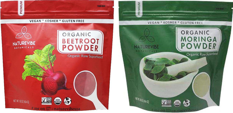 Naturevibe Botanicals Beet Root Powder (1lb) and Moringa Powder (1lb) Combo | Gluten Free and Non-GMO | Immunity Booster