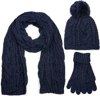 styleBREAKER conjunto de chal, gorro y guantes, chal de punto con motivo trenzado con gorro con pompón y guantes, señora 01018208