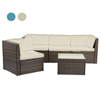 Rattan4Life Madeira Rattan Braun/Creme Polyrattan Gartenmoebel Sitzgruppe  Lounge Moebel Set Tisch Gartentisch Sessel Sofa
