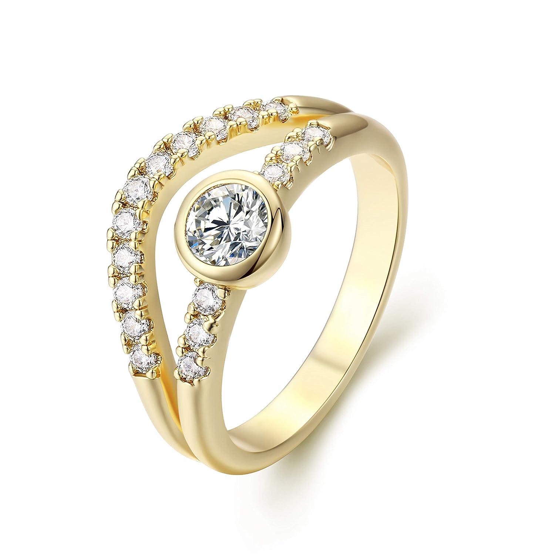 2ce6bc9d7f69d Amazon.com: Valloey Women Wedding Band 14k Gold Interlaced Circles ...
