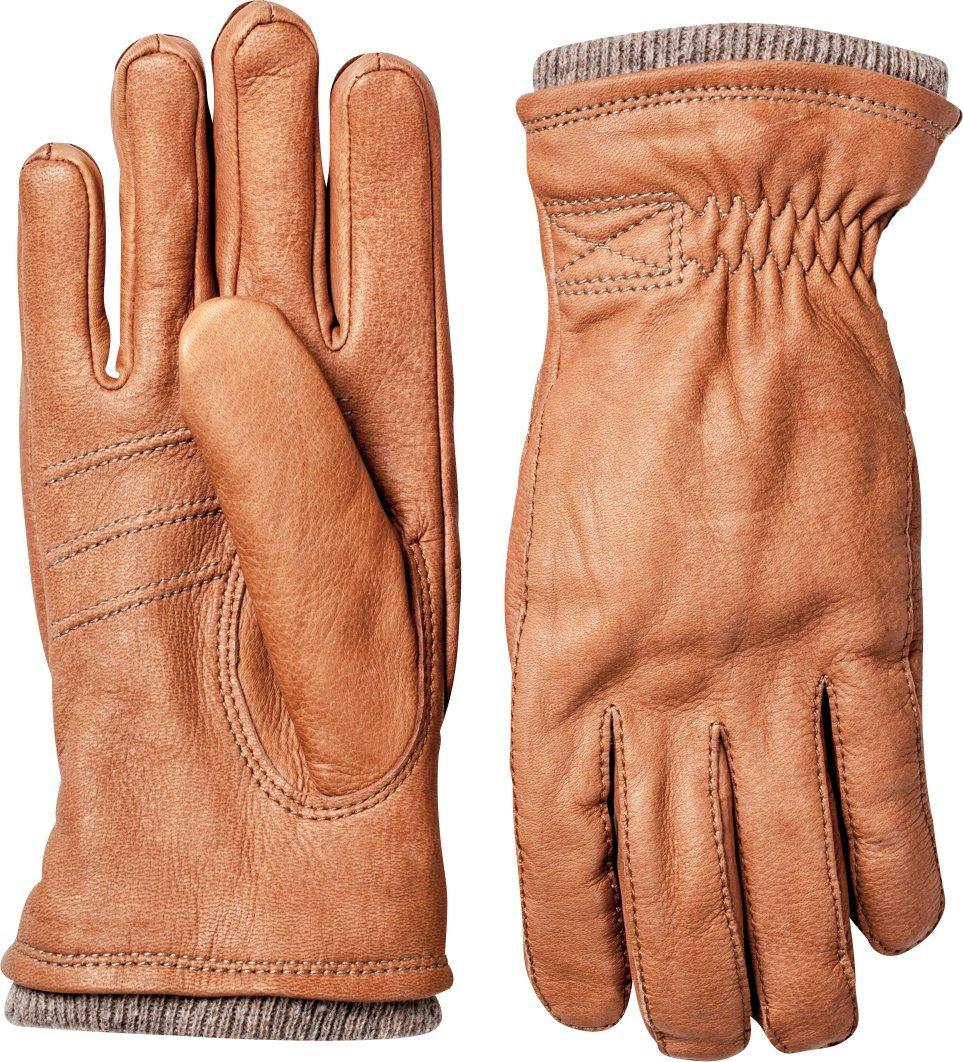 Hestra Mens Leather Gloves: Deerskin Swissroll Rib Cuff, Fleece Lining 20490