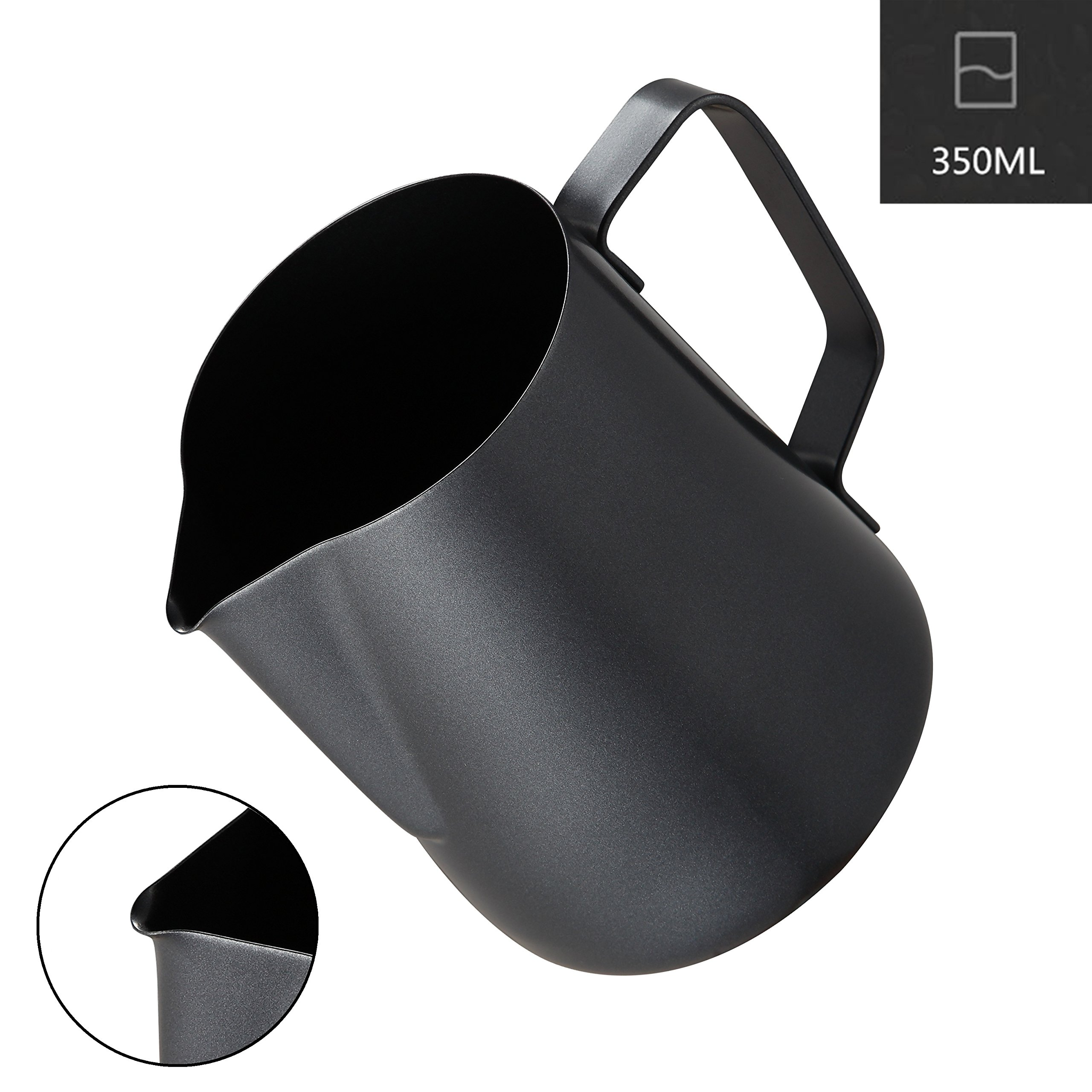 Milk Frothing Pitcher, Coffee4u Stainless Steel Creamer Non-Stick Teflon Frothing Pitcher 12 oz (350 ml), Matte Finish