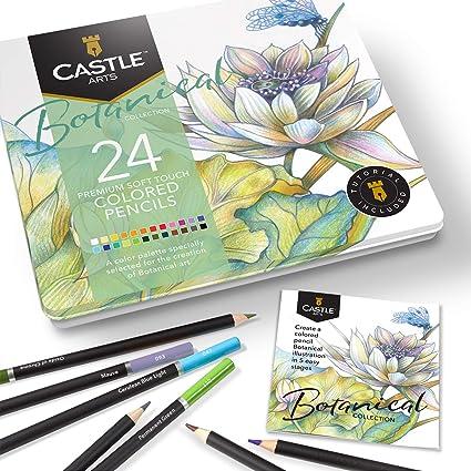 Castle Arts 24 lápices de colores en un estuche de metal, colores Botanical perfectos para dibujar, esbozar, colorear. Con núcleos blandos, mezcla superior y juego de capas: Amazon.es: Oficina y papelería