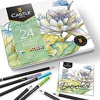Castle Arts Set med 24 färgpennor i plåtask, perfekta färger för botanisk konst. Mjuka kärnor av hög kvalitet…