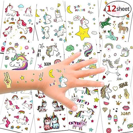 Konsait 300pcs Unicornio Tatuajes temporales Falso Tatuajes ...