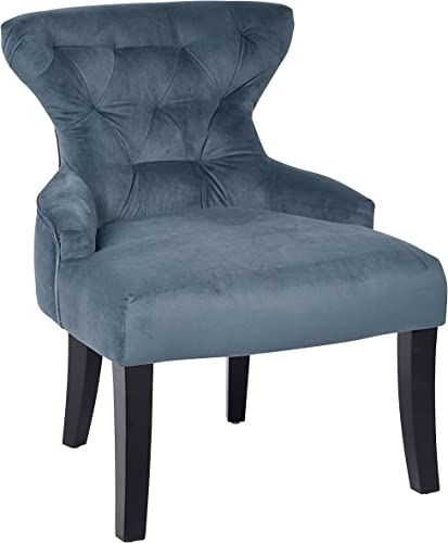 AVE SIX Curves Upholstered Hour Glass Accent Chair with Espresso Finish Wood Legs, Atlantic Blue Velvet
