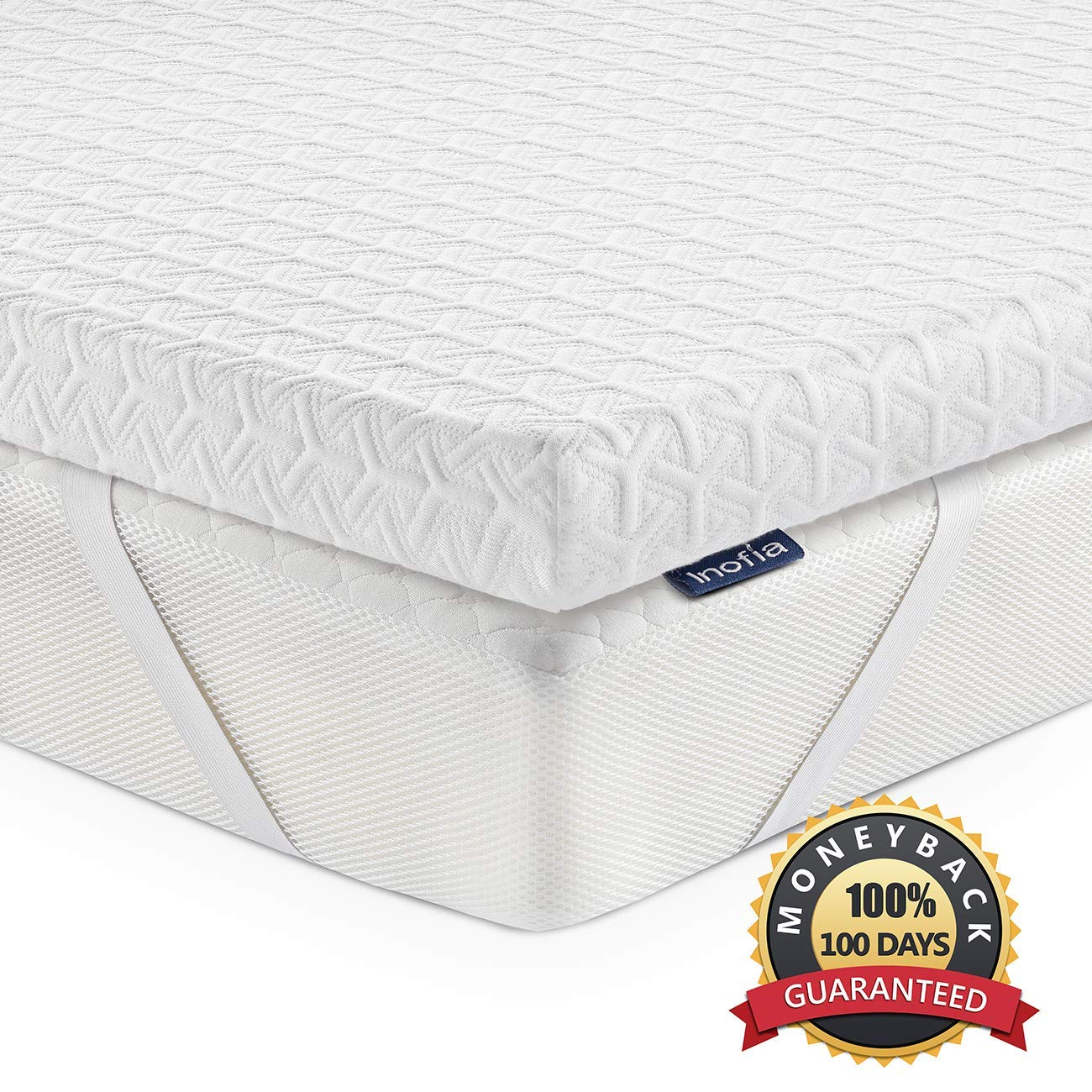 Inofia Mattress Topper Queen, 2.5 Inch Eco-Green Memory Foam Mattress Topper with Washable Tencel Cover, Non-Slip Bottom Corner Straps for a Secure Fit, 100-Night Trail at NO Risk – Queen