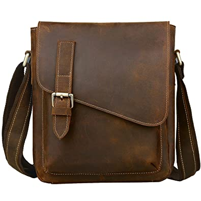 ccbf3b6652fe Jack&Chris Handmade Men's Leather Messenger Bag Shoulder Bag Ipad Bag,  NM1866