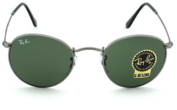 f9513c27b9a Amazon.com  Ray-Ban RB3447 Round Metal Unisex Sunglasses (Matte Gunmetal  Frame Crystal Green Lens 029