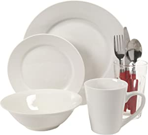 Gibson Home Regal II 32-Piece Fine Ceramic Dinnerware Combo Set, White
