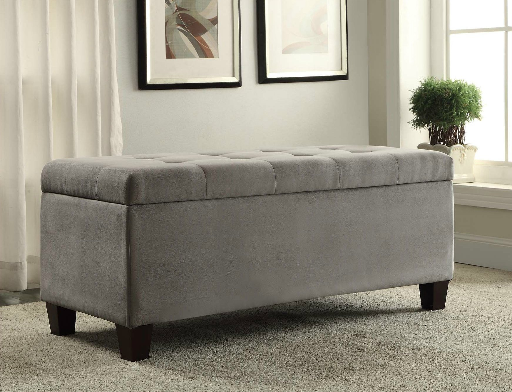 Sturdy Gray Tufted Flip Top Spacious Storage Ottoman With Detachable Shoe Holders